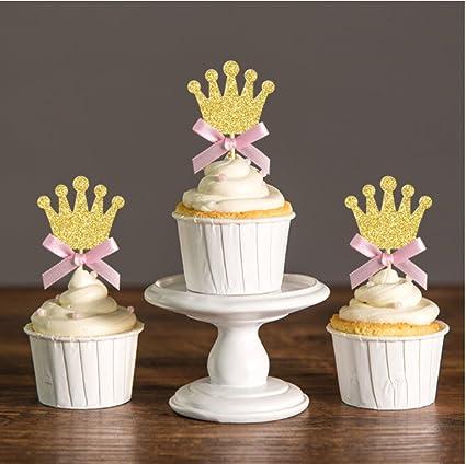 Coronas Para Decorar Cumpleanos.Juego De 6 Coronas De Purpurina De Princesa Doradas Y Lazos