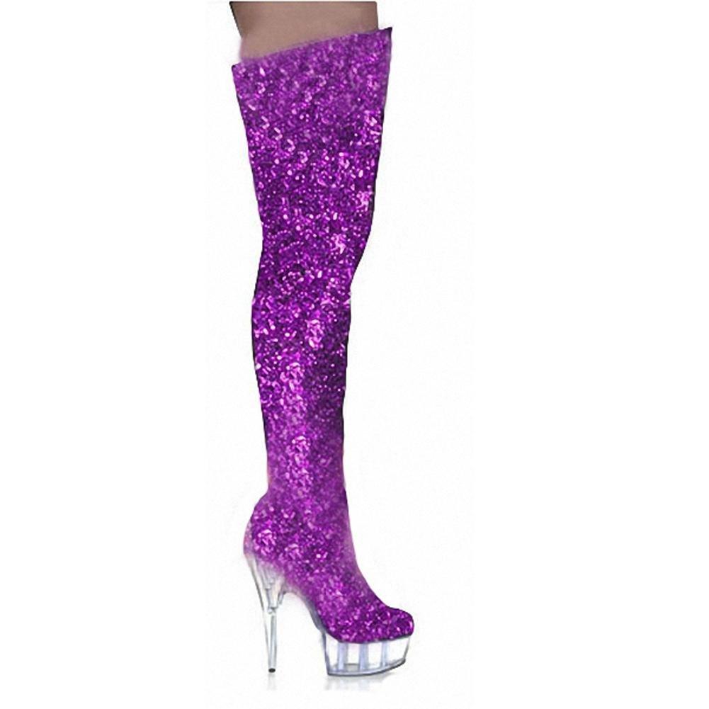 Frau Lange Stiefel Zu Ende Knie Kristall Hell Leder Super Super Super High Heels Nachtclub Pole Tanzen Performance Schuhe B077JT79L8 Tanzschuhe Flut Schuhe Liste 86bbcd