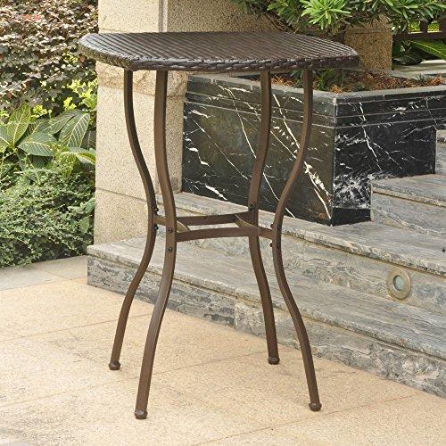 - International Caravan Valencia Resin Wicker Bar-Height Patio Bistro Table Chocolate