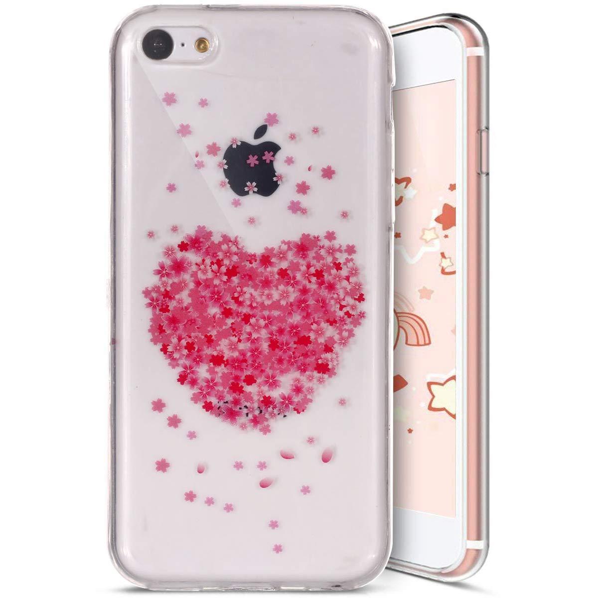 Ysimee Coque iPhone 5C, É tui iPhone 5C Transparent Motif Fleur de Cerisier Ultra Mince et Lé ger Silicone Souple Housse Semi Hybrid Crystal Clear TPU Flexible Coque pour iPhone 5C, Fleur#1