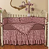 Hoohobbers 4-Piece Crib Bedding, Whirly Pink