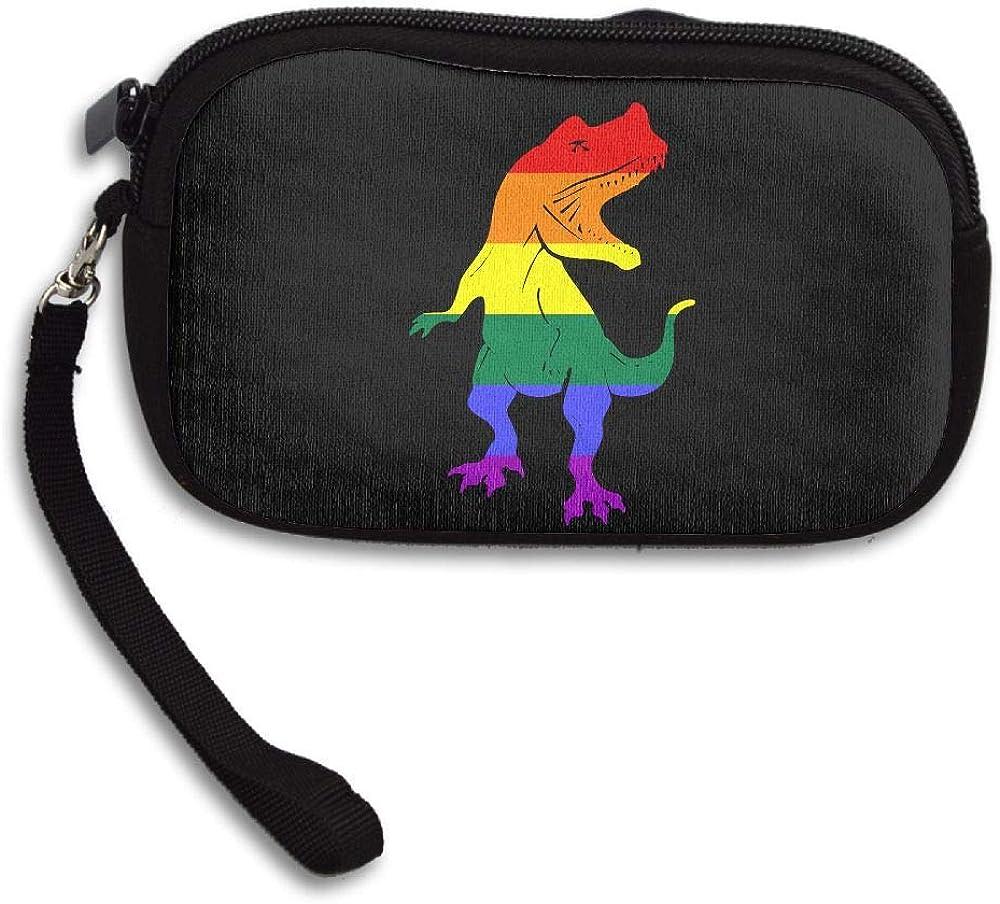 LGBT Dinosaur Custom Zip Handbag Coin Purse Change Cash Wallet