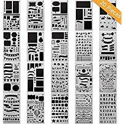 TOPMIXER, 20 PCS Journal Stencil, 4x7 inch/Plastic Planner Set/Compatible for Bullet Journal Scrapbook DIY Drawing Template Journal Stencils Journal Notebook Diary