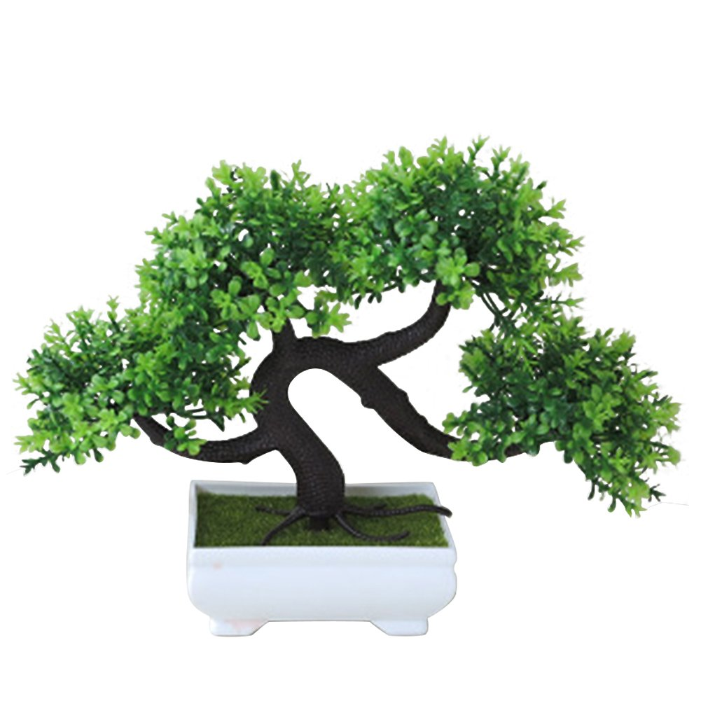 Whthteey Bonsai Tree Decorative Artificial Plant Faux Potted Plant Office Home Decor (Green)