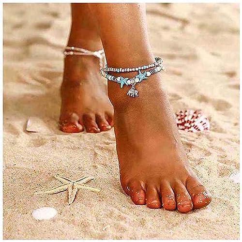ASHMITA Blue Turtle Ankle Bracelet Set Multilayer Beads Handmade Boho Beach Anklet Foot Jewelry Women