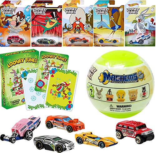 Hot Wheels Bugs Looney Bunny Bunny Exclusive Cars Bundled with Mash'em Soft Character Figure Taz/ Road Runner / Yosemite Sam / Michigan J. Frog & Theme Deck of Playing Cards ()