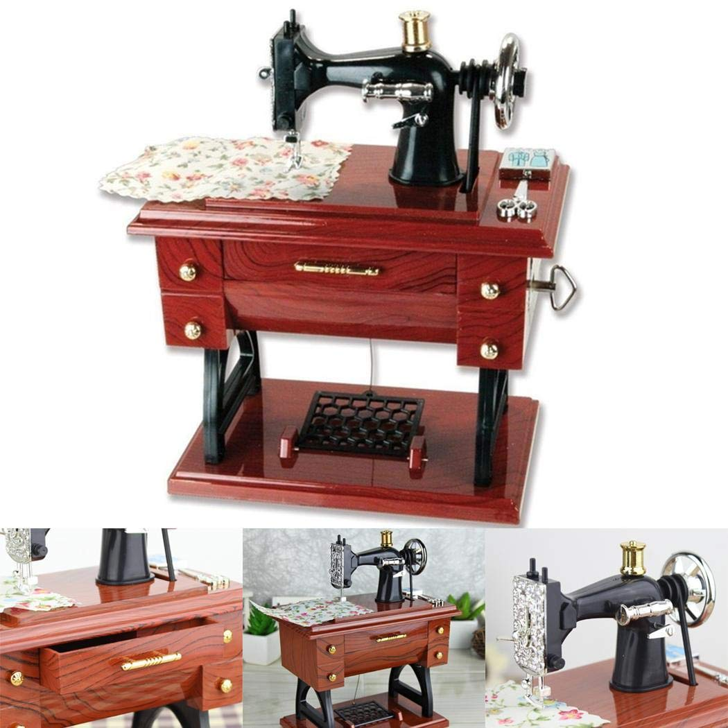 fnemo Vintage Mini Sewing Machine Model Music Box Musical Toy Musical Boxes & Figurines
