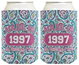 21st Birthday Gift Coolie Made 1997 Can Coolies 2 Pack Can Coolie Drink Coolers Coolies Paisley