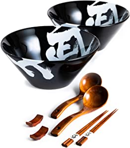 BICETTO Ceramic Ramen Bowl Set, Japanese Large Ramen Bowls with Chopsticks, Spoons and Chopstick Rests – Japan Bowl for Ramen, Pho, Thai Curries, Fried Rice – Minimalist Design, Premium Quality