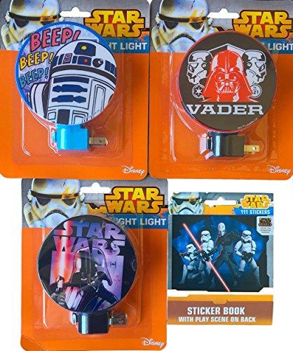 Star Wars R2d2 and Darth Vader Children's Night Light Pack of 3 with Bonus Mini Sticker Book