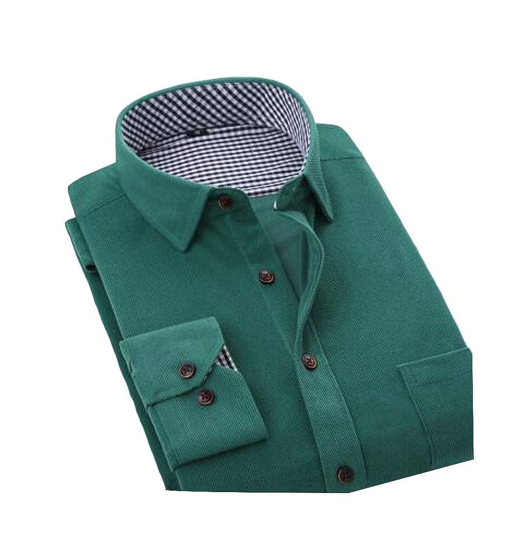 Macondoo Mens Business Slim Long-Sleeve Slim Fit Corduroy Shirt