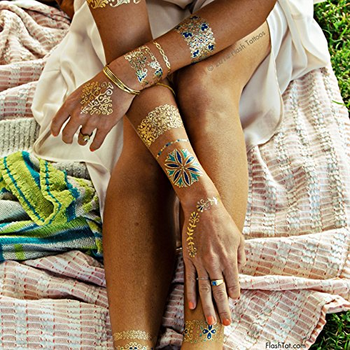 Flash Tattoos Isabella Authentic Metallic Temporary Jewelry Tattoos 4 Sheet Pack (Metallic Gold/blue/green) Includes over 33 premium waterproof floral inspired (Flash Cocktail)