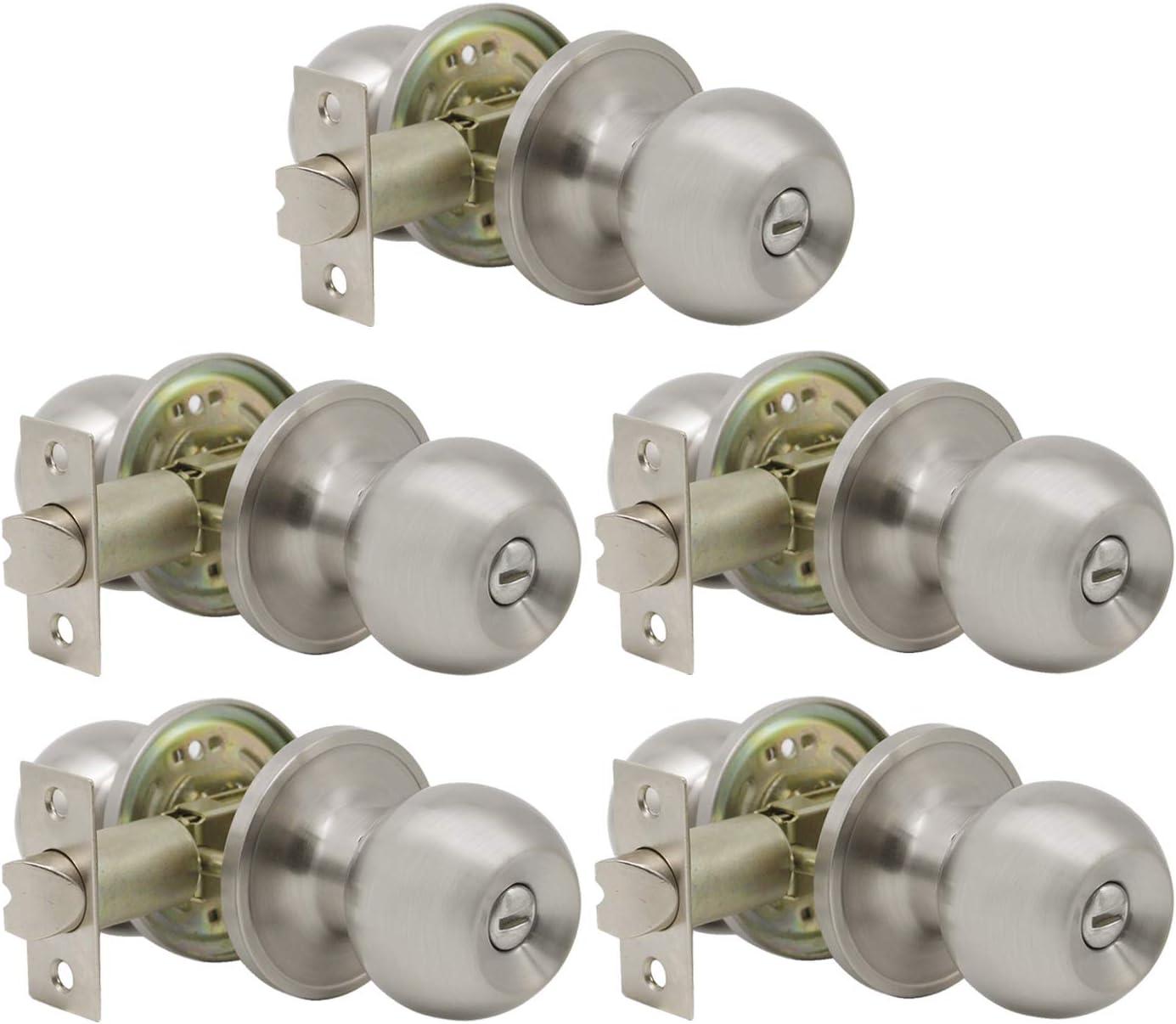 Gobrico 5 Pack Round Ball Bathroom and Bedroom Door Hardware Privacy Locksets Knobs Satin Nickel Finished Keyless Interior Door Locks