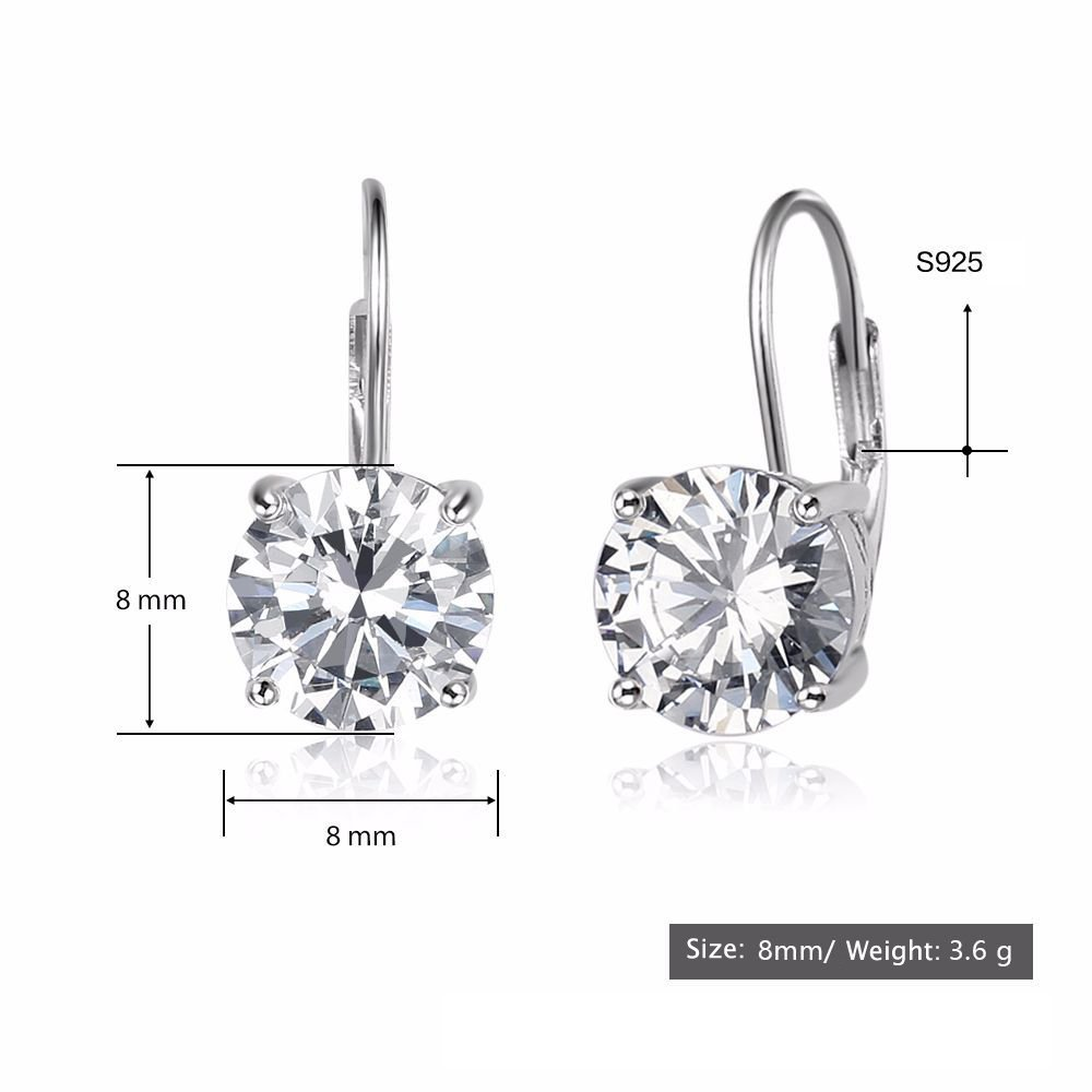 015ca2ecabc46 925 Sterling Silver Round Cut Cubic Zirconia Solitaire Leverback Earrings