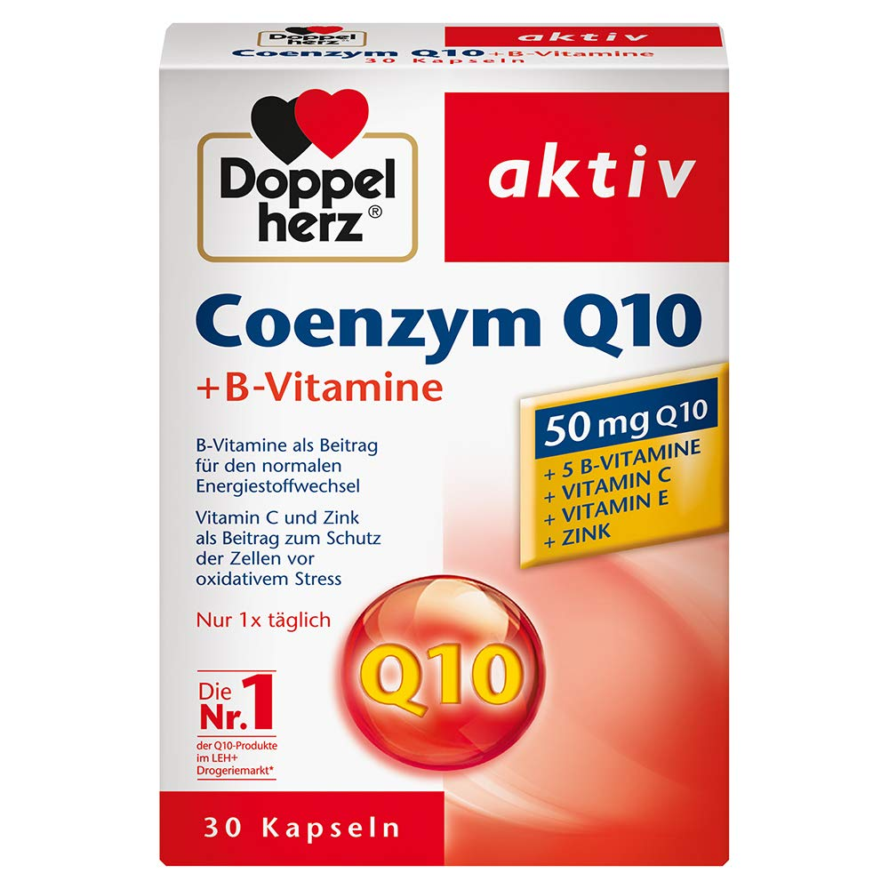 Doppelherz Coenzyme Q10 + B Vitamins - Dietary Supplement with Q10 - with Vitamin B1, B2, B6, C and Biotin for Energy Metabolism and Nervous System - 1 x 30 Capsules