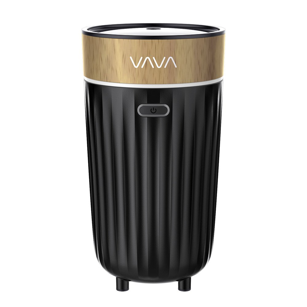 VAVA Aroma Diffuser for Car Cup Holder, Portable Air Refresher with Built-In USB Cable (Works with Any DC 5V 1A Power Source, Dual Mist Modes, Air-Through Design, Auto Shut-Off, PP & BPA-Free Build)
