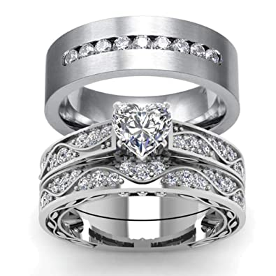 Amazoncom Wedding Ring Set His Hers Couples Matching Rings Womens