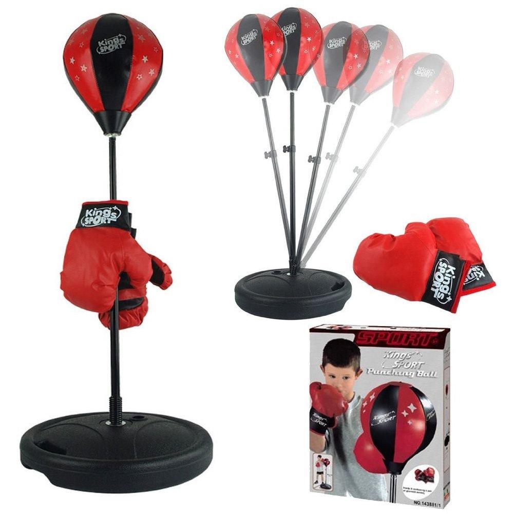 Vetrineinrete® Punching ball per bambini con guantoni boxe regolabile in altezza da 80 a 100 cm base zavorrabile con acqua o sabbia allenamento pugilato box P34