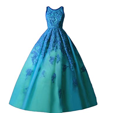 DKBridal O-Neck Applique Sweet 17 Ball Gowns Cinderella Evening Prom Dresses Blue 2