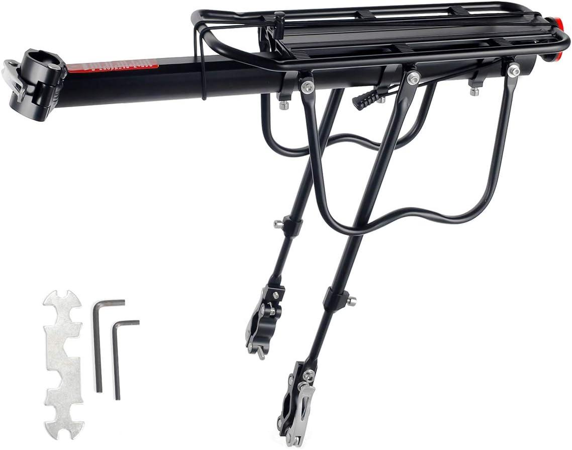EKKONG Portaequipajes Bicicleta, Aleación de Aluminio Ajustable Portaequipaje Bicicleta Montaña con Reflector, Carga Máxima de 90 kg