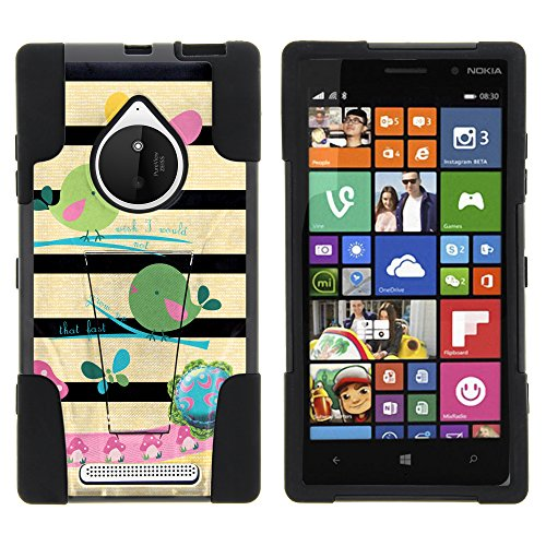 Nokia Lumia 830 Case, Full Body Fusion STRIKE Impact Kickstand Case with Exclusive Illustrations for Nokia Lumia 830 (AT&T, T Mobile, Verizon) from MINITURTLE | Includes Clear Screen Protector and Stylus Pen - Colorful Birds