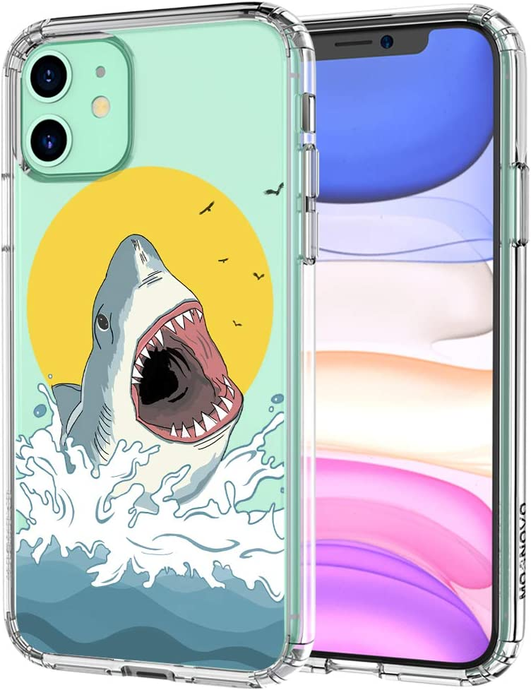 MOSNOVO iPhone 11 Case, Shark Pattern Printed Clear Design Transparent Plastic Hard Back Case with TPU Bumper Protective Case Cover for iPhone 11
