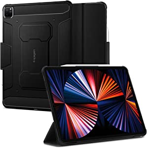 Spigen Rugged Armor Pro Designed for iPad Pro 12.9 inch Case 2021 5th Generation with Pencil Holder - Black