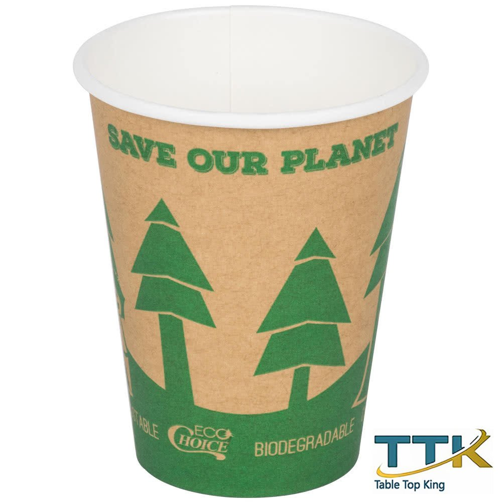 12 oz. Kraft Compostable and Biodegradable Paper Hot Cup with Tree Design 1000/Case by TableTop king by TableTop King (Image #1)