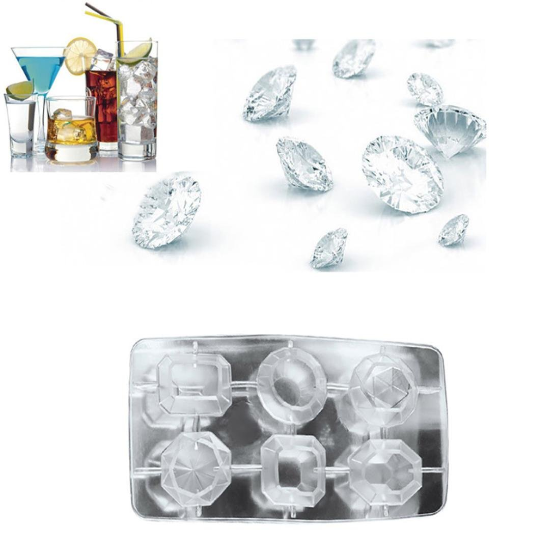 LiPing Diamonds Gem Cool Ice Food Grade Silicone Ice Cube Tray Molds,6-Cube Trays, Easy Release Ice Jelly Pudding Maker Mold (A)