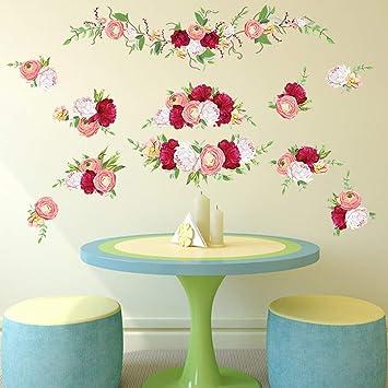 decalmile Wandtattoo Rosen Wandaufkleber Blumen Wohnzimmer Schlafzimmer  Dekoration
