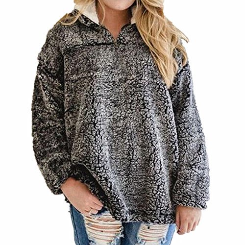 Clubdeer Womens 1/4 Zip Fleece Sherpa Pebble Pile Fleece Fuzzy Unisex Sweatshirt Winter Coat (Pile Fleece Pullover)