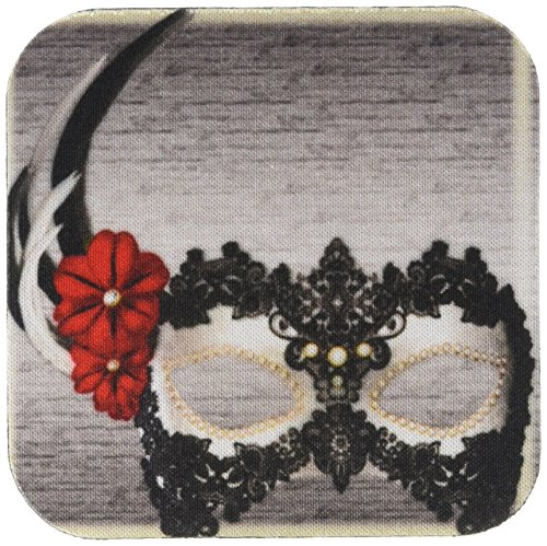 Decorated Mask - 3dRose cst_108114_2 Pretty Decorated Mask in Black Whites and Red Flowers-Soft Coasters, Set of 8