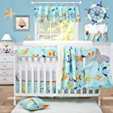 Brandream Nautical Bedding for Baby Boy Crib Bedding Set with Crib Rail Cover & 2 pack crib sheet, Chevron Ocean Anchors Print, Blue & Gray, 9 Pieces