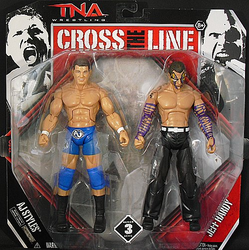 (JEFF HARDY & AJ STYLES - CROSS THE LINE 2-PACKS 3 TNA TOY WRESTLING ACTION FIGURES)