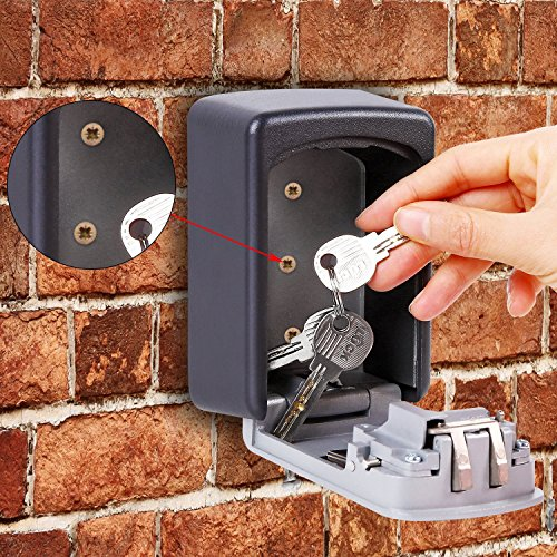 KIPRUN Key Storage Lock Box, 4-Digit Combination Lock Box, Wall Mounted Lock Box, Resettable Code (Circular) by KIPRUN (Image #6)