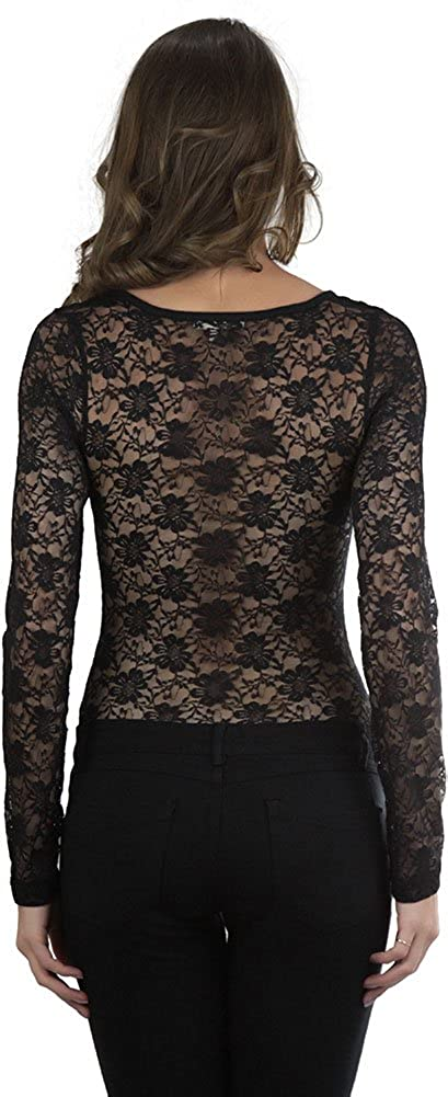 b2b73b380c ToBeInStyle Women s All Lace Long Sleeve Body Suit - Black - Small at Amazon  Women s Clothing store