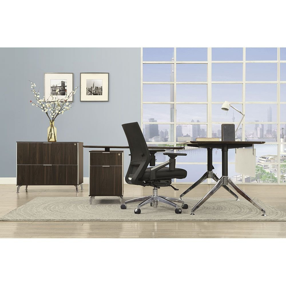 Two-Tier 60''W L-Desk with Reversible Return and Lateral File Dark Walnut Laminate Top/Acrylic Modesty Panel/Black and Chromed Aluminum LegWeight: 289 lbs.