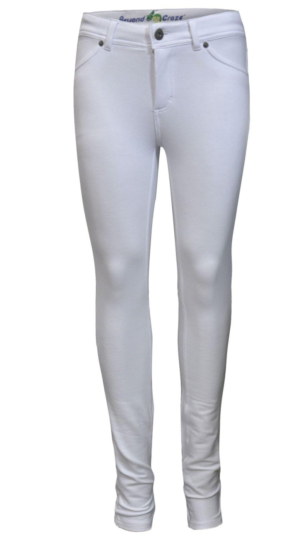 Solid Color Moleton STRETCH SKINNY Fit PANTS Ivory L