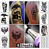 Temporary Tattoos for Guys for Men - Fake Tattoo, Biker Tattoos, Rocker Stickers for Arms Shoulders Chest & Back - Boys Tattoos Body Art Tattoo Sticker Waterproof Large Transfers 8 Sheets (Mars)