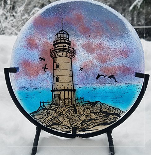 Cremation Ashes InFused Glass Lighthouse Cremation Art Memorial Table Display