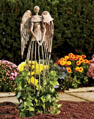 Relatively Amazon.com : Garden Metal Angel Trellis - Antique Patina 25.5in  IV06