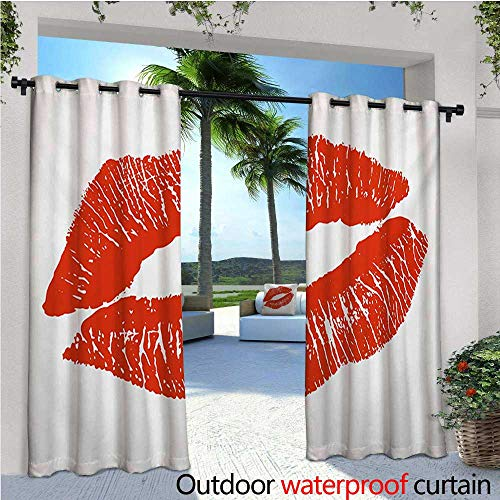 homehot Kiss Indoor/Outdoor Single Panel Print Window Curtain Print of Lips Kiss Mark on White Background Seductive Trace with Grunge Display Silver Grommet Top Drape W96 x L108 Vermilion White