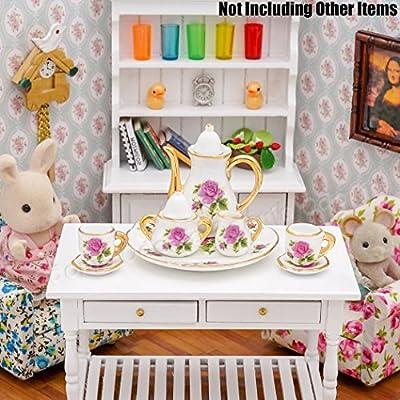 Odoria 1:6 Miniature 8PCS Porcelain Tea Cup Set Purple Chintz with Gold Trim Dollhouse Kitchen Accessories: Toys & Games
