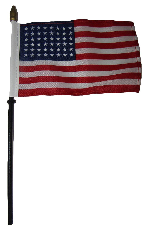 USA American 48 Star Linear 4''x6'' Flag Desk Set Table Wood Stick Staff