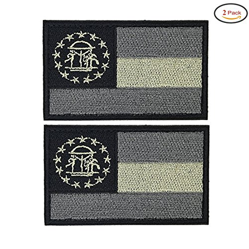 X.Sem USA American Georgia State Flag Patch - 2 Pack Tactical Patches Embroidery Morale Emblem (Grey&Light - Limited Greylight