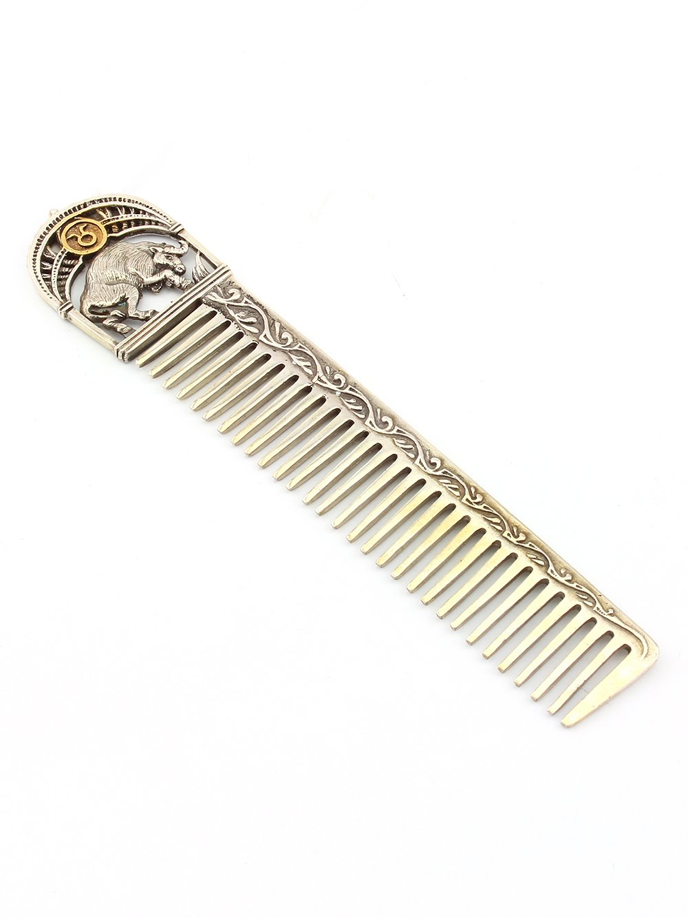 Silver Hair comb with Zodiac Horoscope Astrology Sign ''Taurus''