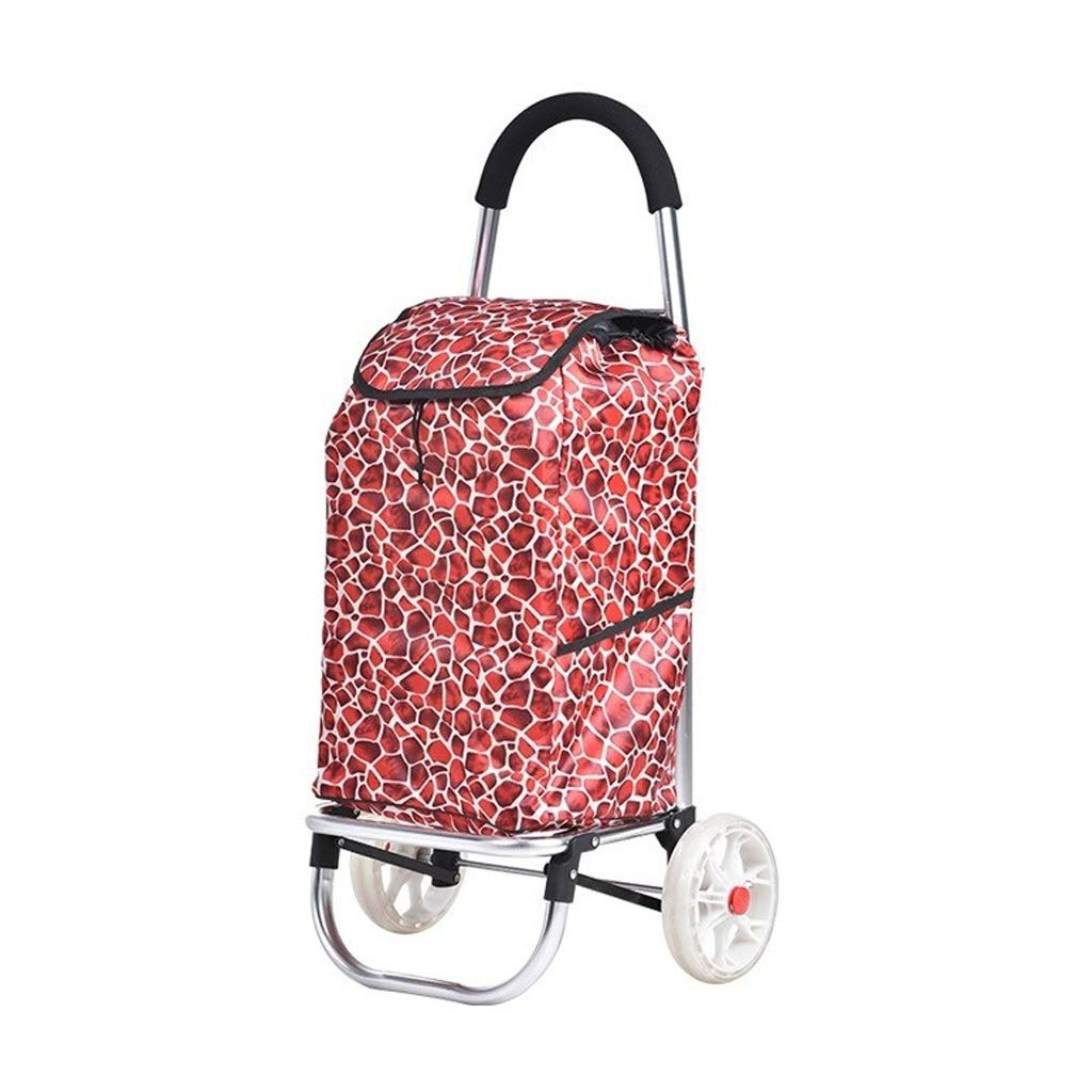 Gflyme Luggage Trolley - Old Shopping Trolley - Six Wheels - Portable Trolley - Large Capacity - Pomegranate Red