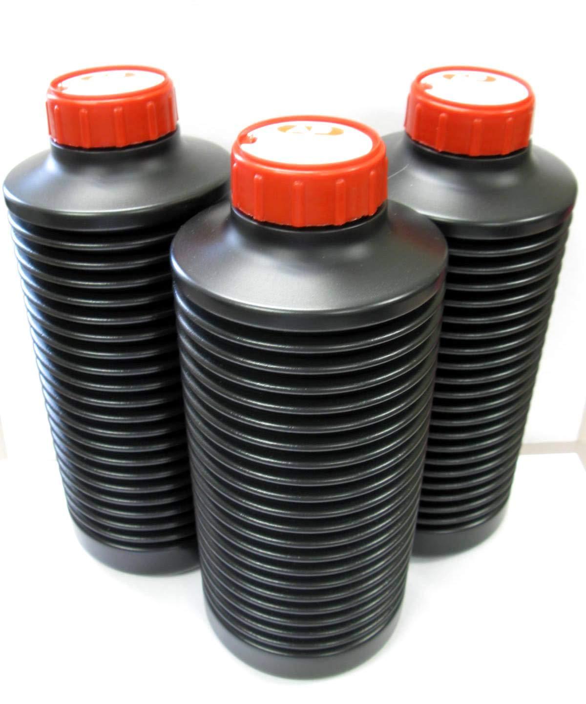 Three AP Air Reduction Air-Evac Darkroom Chemical Storage 1-Liter Bottles by AP Plastics