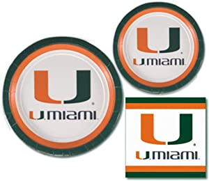 Miami Hurricanes Party Supplies - Bundle Includes Paper Plates and Napkins for 10 People
