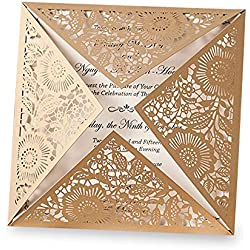Doris Home wedding invitations wedding invites invitations cards wedding invitations kit Square Gold Laser-cut Lace Flower Pattern Invitation, 1 piece,CW520_GO